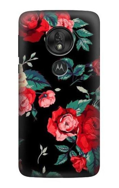 S3112 Rose Floral Pattern Black Case For Motorola Moto G7 Play