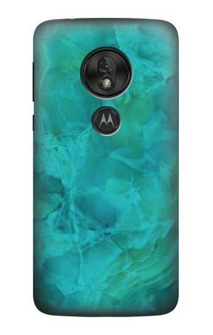 S3147 Aqua Marble Stone Case For Motorola Moto G7 Play