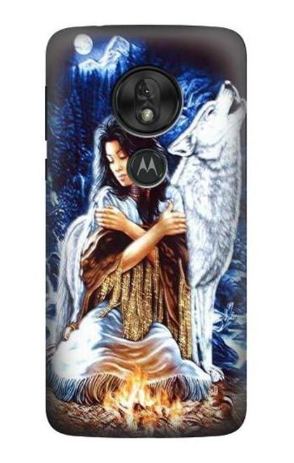 S0147 Grim Wolf Indian Girl Case For Motorola Moto G7 Power