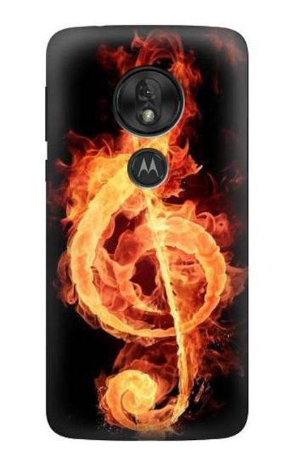 S0493 Music Note Burn Case For Motorola Moto G7 Power