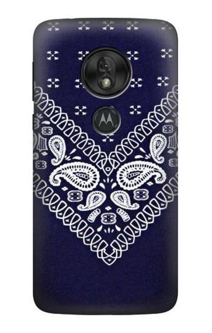 S3357 Navy Blue Bandana Pattern Case For Motorola Moto G7 Power