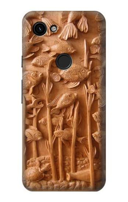 S1307 Fish Wood Carving Graphic Printed Case For Google Pixel 3a