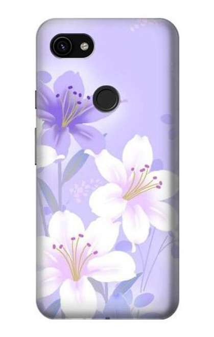 S2361 Purple White Flowers Case For Google Pixel 3a XL