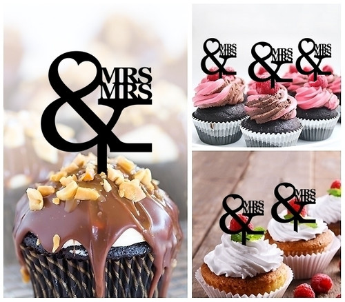 TA0947 MRS and MRS Silhouette Party Wedding Birthday Acrylic Cupcake Toppers Decor 10 pcs