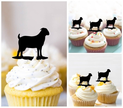 TA1036 Goat Barn Yard Animal Farm Silhouette Party Wedding Birthday Acrylic Cupcake Toppers Decor 10 pcs