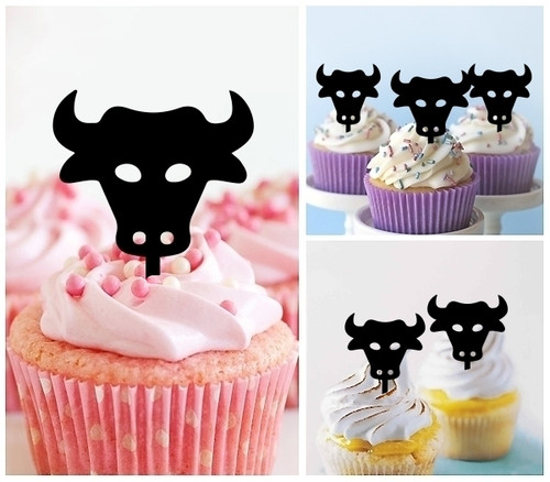 TA1179 Bull Head Silhouette Party Wedding Birthday Acrylic Cupcake Toppers Decor 10 pcs