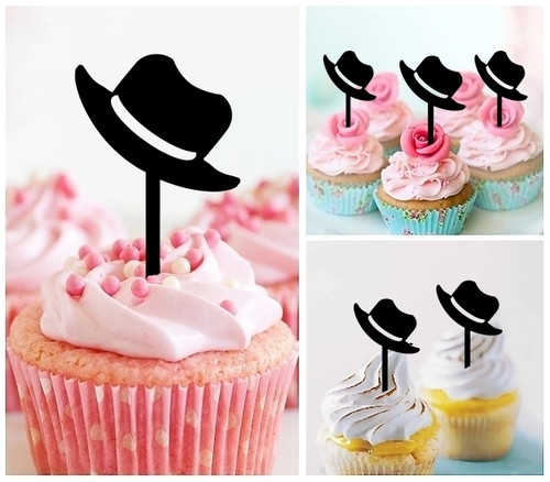 TA1183 Traveller Hat Silhouette Party Wedding Birthday Acrylic Cupcake Toppers Decor 10 pcs