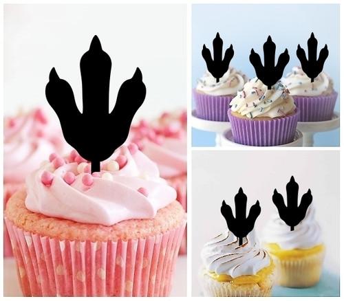 TA1189 Penguin Footprint Silhouette Party Wedding Birthday Acrylic Cupcake Toppers Decor 10 pcs