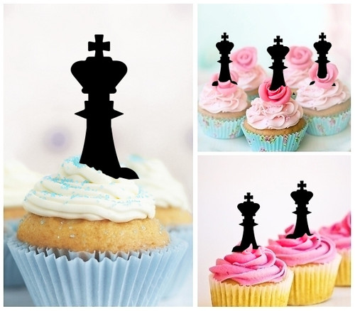 TA1221 King Chess Silhouette Party Wedding Birthday Acrylic Cupcake Toppers Decor 10 pcs
