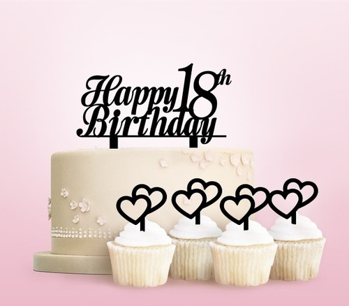 TC0220 Happy Birthday Age Number Party Wedding Birthday Acrylic Cake Topper Cupcake Toppers Decor Set 11 pcs