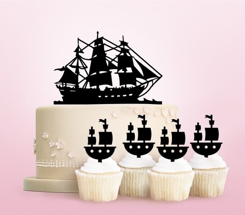 TC0221 Pirate Ship Party Wedding Birthday Acrylic Cake Topper Cupcake Toppers Decor Set 11 pcs