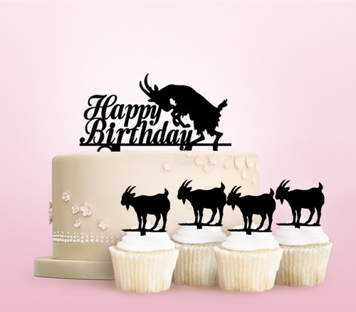 TC0224 Happy Birthday Goat Party Wedding Birthday Acrylic Cake Topper Cupcake Toppers Decor Set 11 pcs