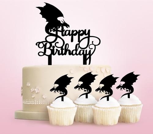 TC0229 Happy Birthday Dragon Party Wedding Birthday Acrylic Cake Topper Cupcake Toppers Decor Set 11 pcs