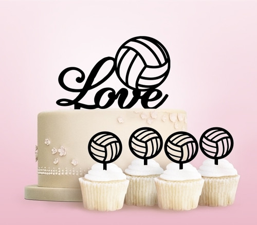 TC0234 Love Volleyball Party Wedding Birthday Acrylic Cake Topper Cupcake Toppers Decor Set 11 pcs
