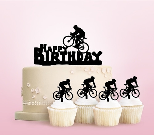TC0238 Happy Birthday Bicycle Party Wedding Birthday Acrylic Cake Topper Cupcake Toppers Decor Set 11 pcs