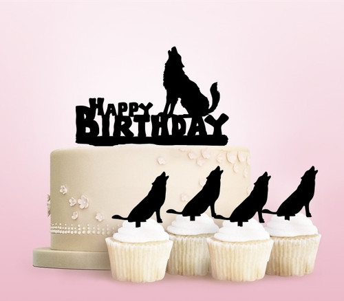 TC0240 Happy Birthday Wolf Howling Party Wedding Birthday Acrylic Cake Topper Cupcake Toppers Decor Set 11 pcs