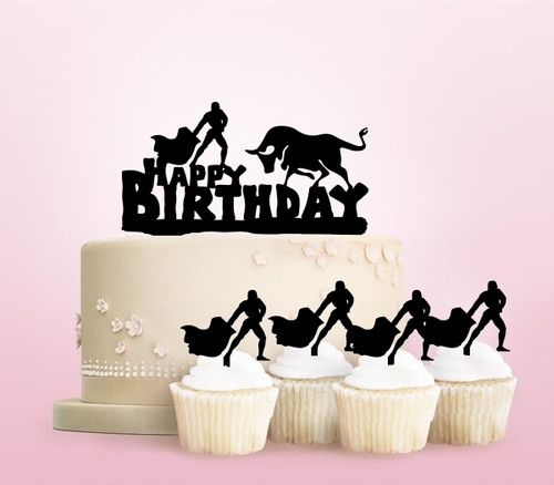 TC0242 Happy Birthday Matador Bullfighting Party Wedding Birthday Acrylic Cake Topper Cupcake Toppers Decor Set 11 pcs