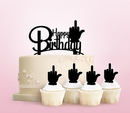 TC0243 Funny Happy Birthday Middle Finger Party Wedding Birthday Acrylic Cake Topper Cupcake Toppers Decor Set 11 pcs