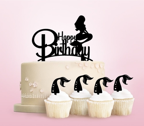 TC0244 Happy Birthday Mermaid Party Wedding Birthday Acrylic Cake Topper Cupcake Toppers Decor Set 11 pcs