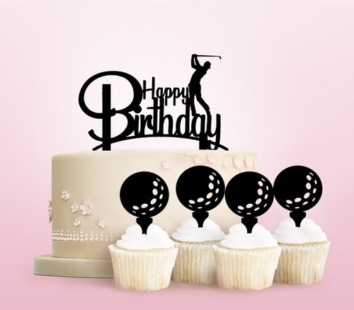 TC0245 Happy Birthday Golf Party Wedding Birthday Acrylic Cake Topper Cupcake Toppers Decor Set 11 pcs