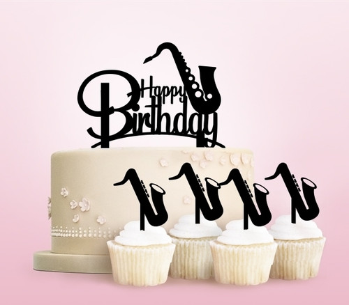 TC0246 Happy Birthday Saxophone Party Wedding Birthday Acrylic Cake Topper Cupcake Toppers Decor Set 11 pcs