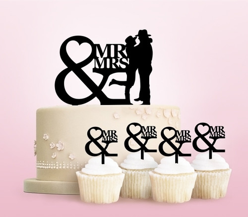TC0250 Mr and Mrs Cowboy Party Wedding Birthday Acrylic Cake Topper Cupcake Toppers Decor Set 11 pcs