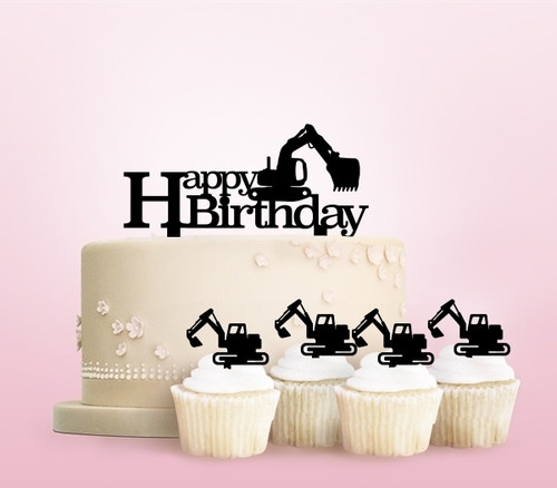 TC0253 Backhoe Happy Birthday Party Wedding Birthday Acrylic Cake Topper Cupcake Toppers Decor Set 11 pcs