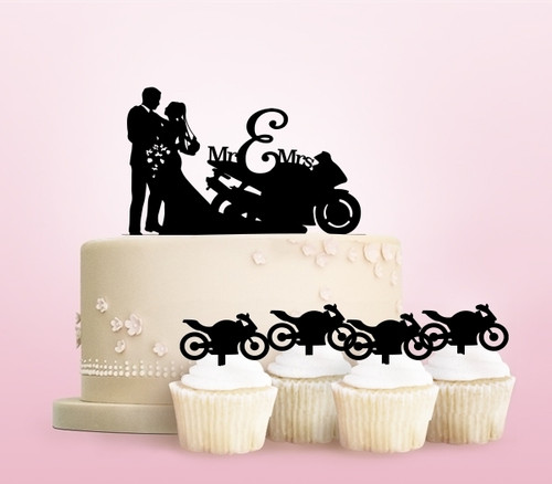 TC0256 Wedding Motorcycle Racing Party Wedding Birthday Acrylic Cake Topper Cupcake Toppers Decor Set 11 pcs