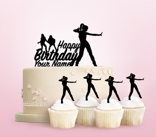 TC0257 Happy Birthday Hip Hop Female Dance Party Wedding Birthday Acrylic Cake Topper Cupcake Toppers Decor Set 11 pcs