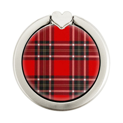 S2374 Tartan Red Pattern Graphic Ring Holder and Pop Up Grip