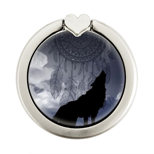 S3011 Dream Catcher Wolf Howling Graphic Ring Holder and Pop Up Grip