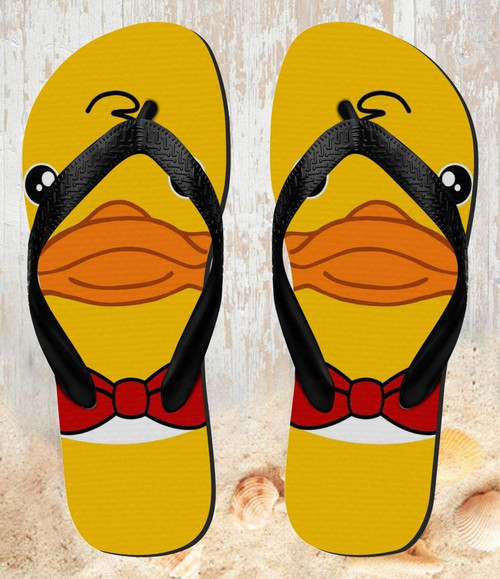 FA0339 Yellow Duck Tuxedo Cartoon Beach Slippers Sandals Flip Flops Unisex