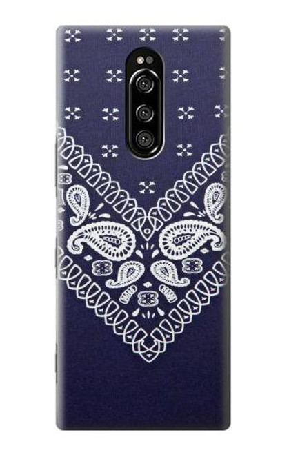 S3357 Navy Blue Bandana Pattern Case For Sony Xperia 1