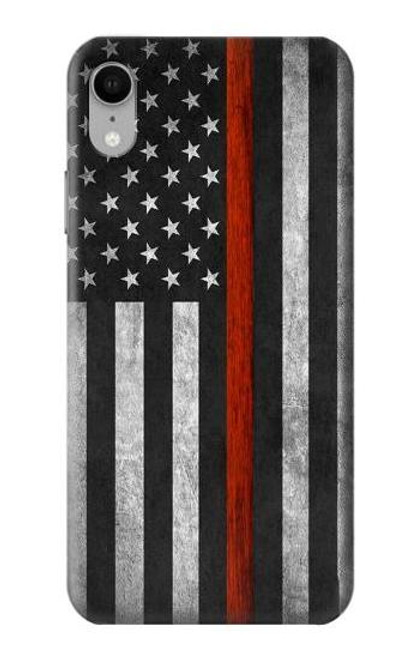S3472 Firefighter Thin Red Line Flag Case For iPhone XR