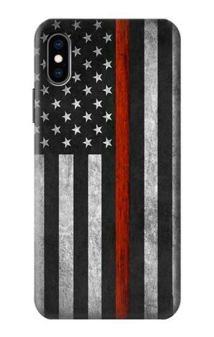 S3472 Firefighter Thin Red Line Flag Case For iPhone X, iPhone XS