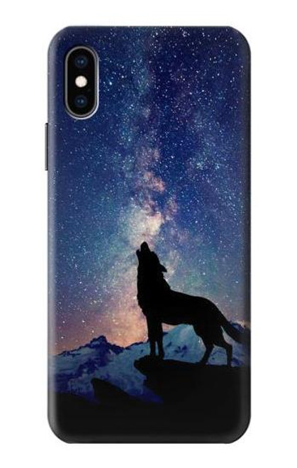 S3555 Wolf Howling Million Star Case For iPhone X, iPhone XS
