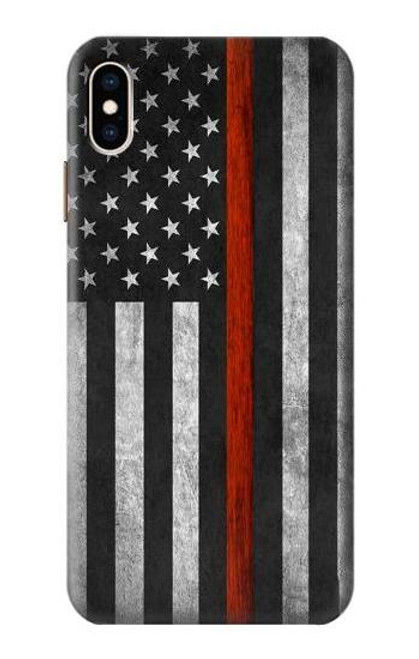 S3472 Firefighter Thin Red Line Flag Case For iPhone XS Max