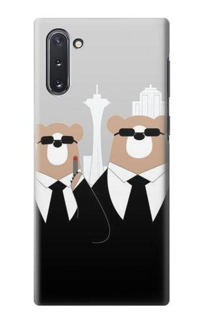 S3557 Bear in Black Suit Case For Samsung Galaxy Note 10