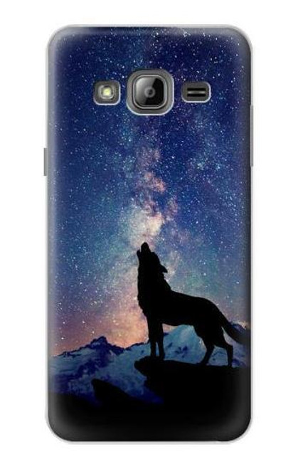 S3555 Wolf Howling Million Star Case For Samsung Galaxy J3 (2016)