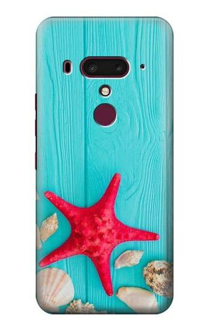 S3428 Aqua Wood Starfish Shell Case For HTC U12+, HTC U12 Plus