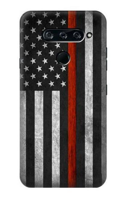 S3472 Firefighter Thin Red Line Flag Case For LG V40, LG V40 ThinQ