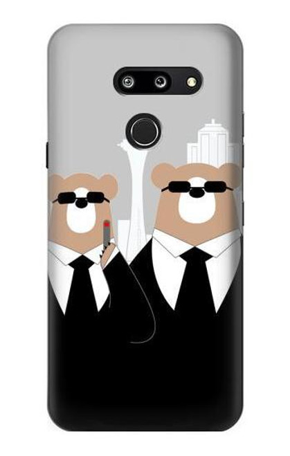 S3557 Bear in Black Suit Case For LG G8 ThinQ