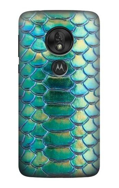 S3414 Green Snake Scale Graphic Print Case For Motorola Moto G7 Play
