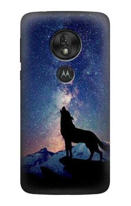 S3555 Wolf Howling Million Star Case For Motorola Moto G7 Play