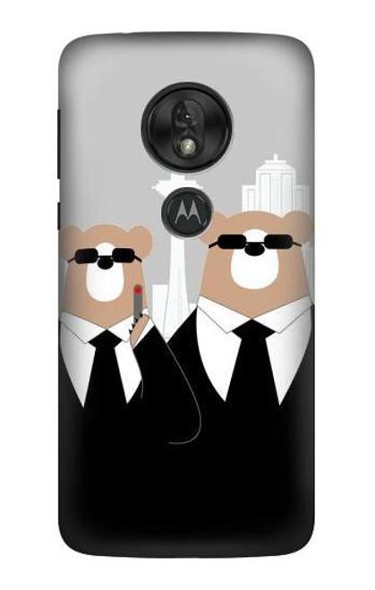 S3557 Bear in Black Suit Case For Motorola Moto G7 Play