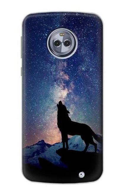 S3555 Wolf Howling Million Star Case For Motorola Moto G6 Plus