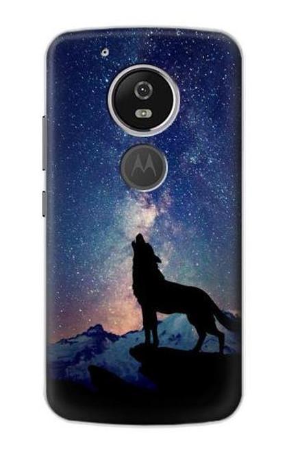 S3555 Wolf Howling Million Star Case For Motorola Moto G6 Play, Moto G6 Forge, Moto E5