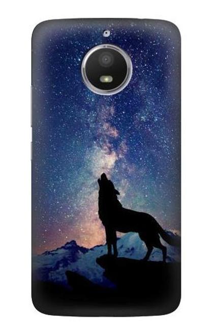 S3555 Wolf Howling Million Star Case For Motorola Moto E4 Plus