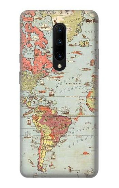 S3418 Vintage World Map Case For OnePlus 7 Pro
