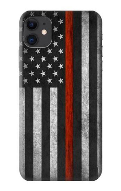 S3472 Firefighter Thin Red Line Flag Case For iPhone 11